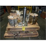 LOT OF assorted MUD PUMP ACCESSORIES, PISTON RODS, EXTENSION RODS, PISTON ROD CLAMPS, VALVE