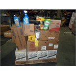 LOT OF CLEANING SUPPLIES: trash bags, hand cleaner, WypAll wipes, hand soap, Clorox spray, Mean