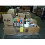 LOT OF PAINTING SUPPLIES: 1 gal. paint cans, spay cans (blue, black, orange, green), paint