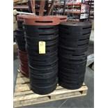 "LOT OF SPLIT DUAL PIPE WIPES: black rubber & neoprene, 17"", 19"" & 22""  LOCATED IN HOUSTON, TX"
