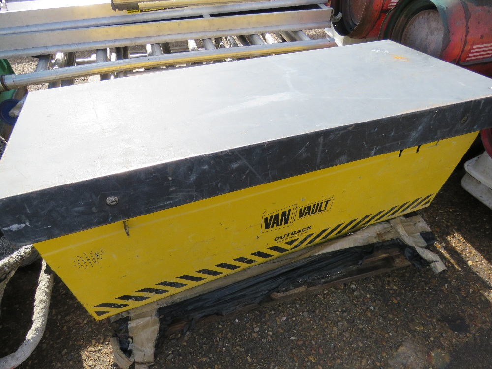 Yellow tool safe c/w contents, no keys
