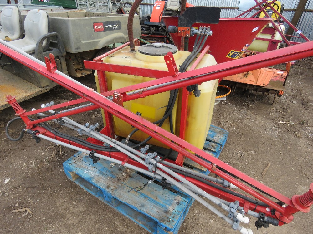 Small compact tractor mounted sprayer, 15ft approx. boom