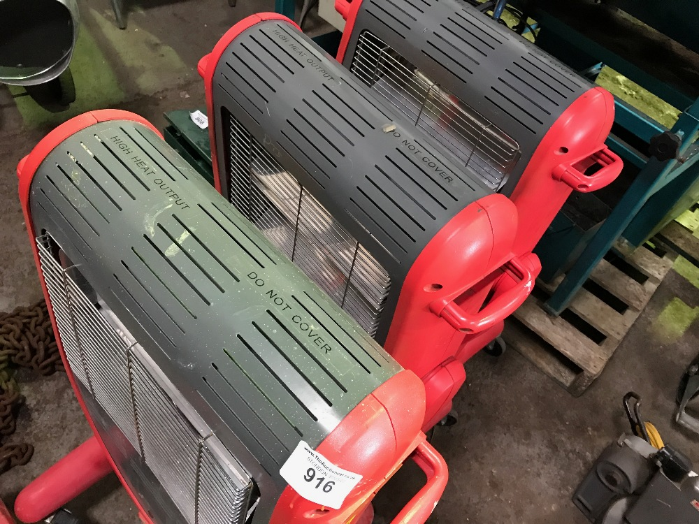 3no. Radiant heaters