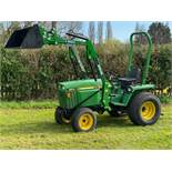 JOHN DEERE 855 4WD COMPACT TRACTOR FITTED WITH LOADER ON WIDE TURF TYRES. LOADER IS UNUSED.