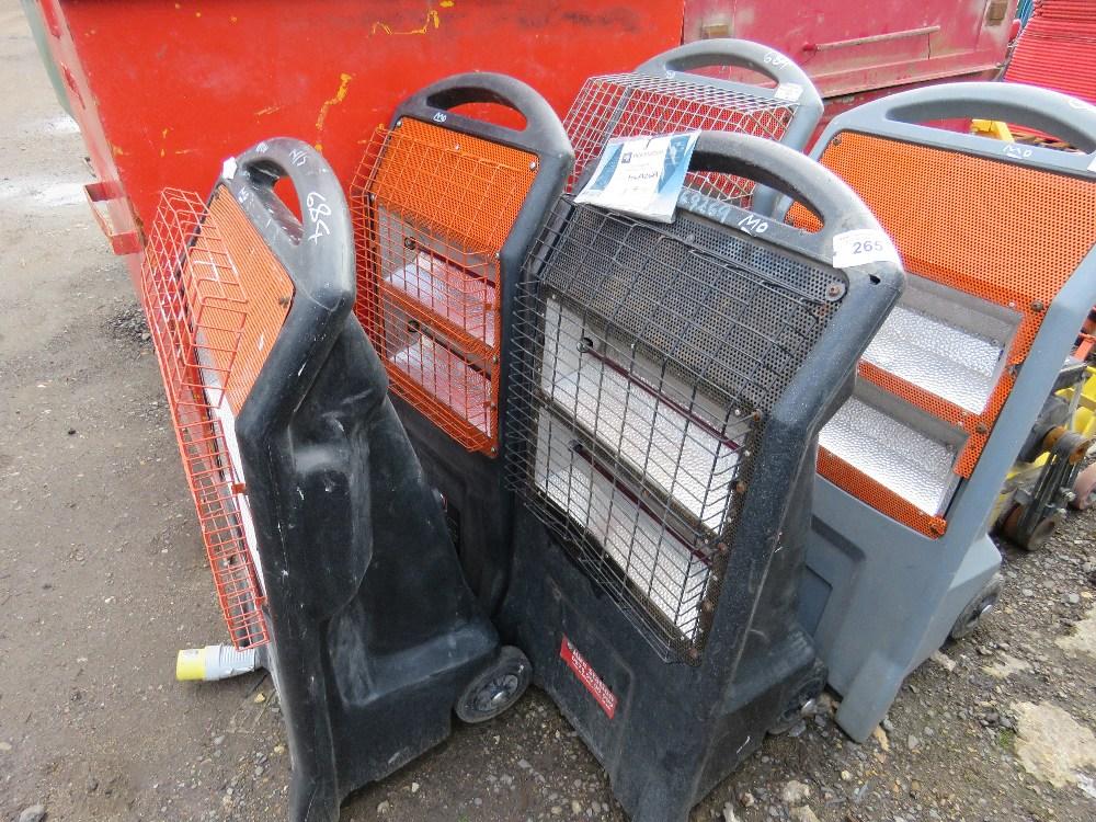 5no. 240v and 110v Radiant heaters