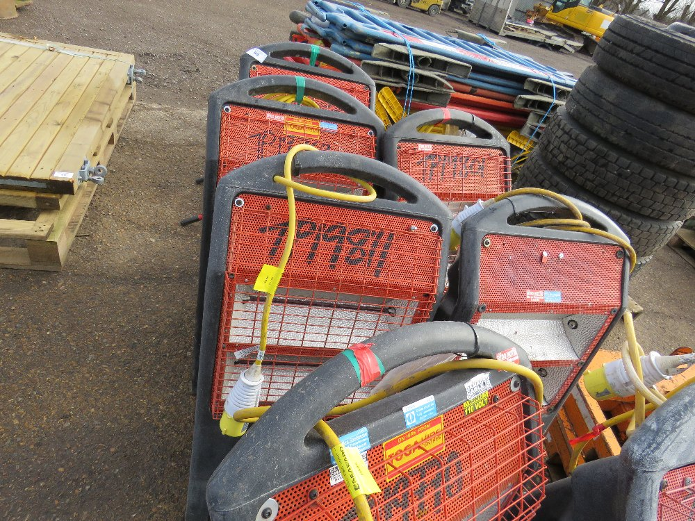 7no. Radiant heaters plus 110v fire bell trolley - Image 3 of 3