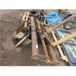 Set of Keen excavator-mounted pallet forks, yr2014, on 65mm pins, untested
