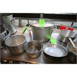 """(1) S/S Pot with Handles and Lid, Aprox. 10"""" Deep x 14"""" Dia., (4) Pots, Assorted Sized with Handles,"""