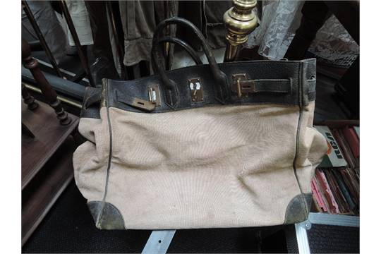 a71bb385532 coupon code for a vintage hermes hac 50 bag of canvas and leather structure  with cde87