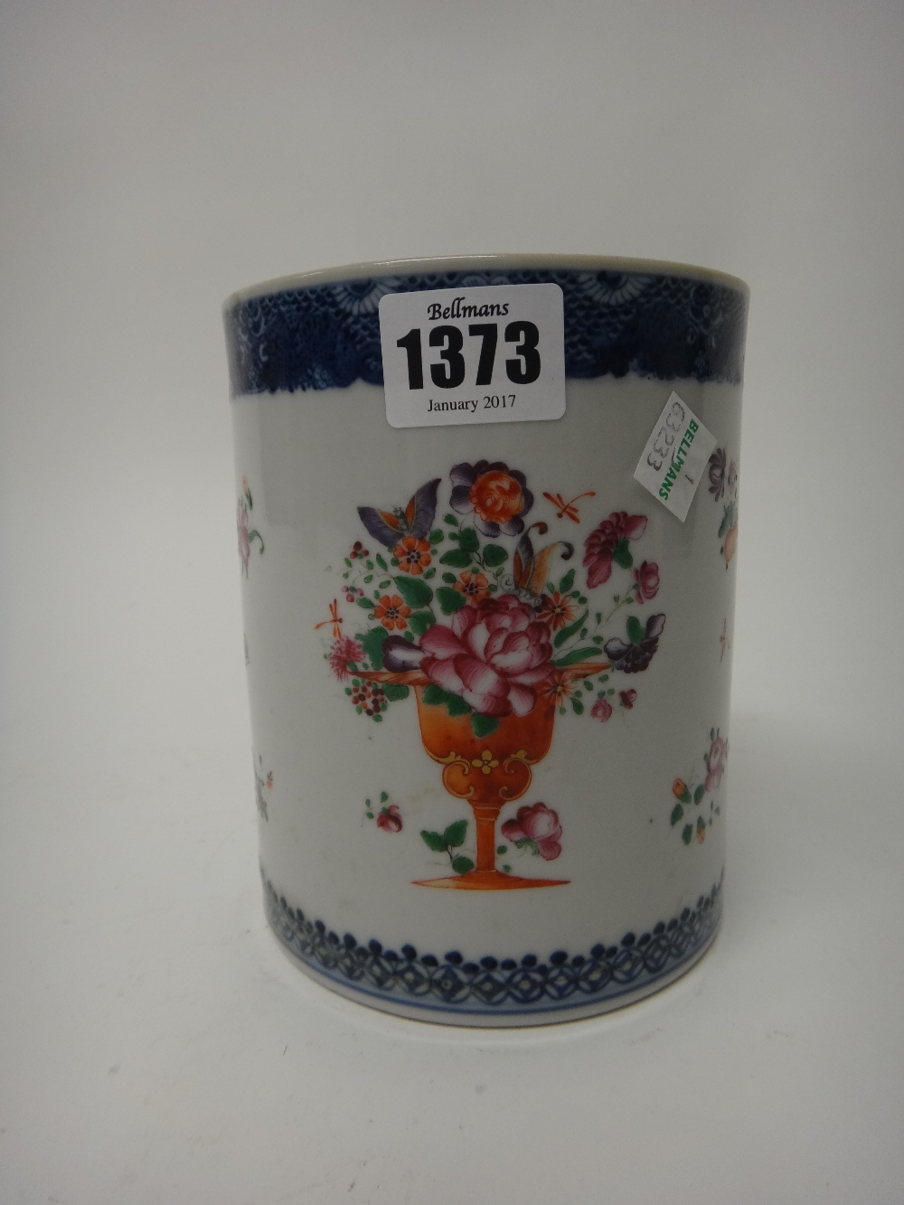 Lot 1373 - A large Chinese export porcelain cylindrical mug, Qianlong,