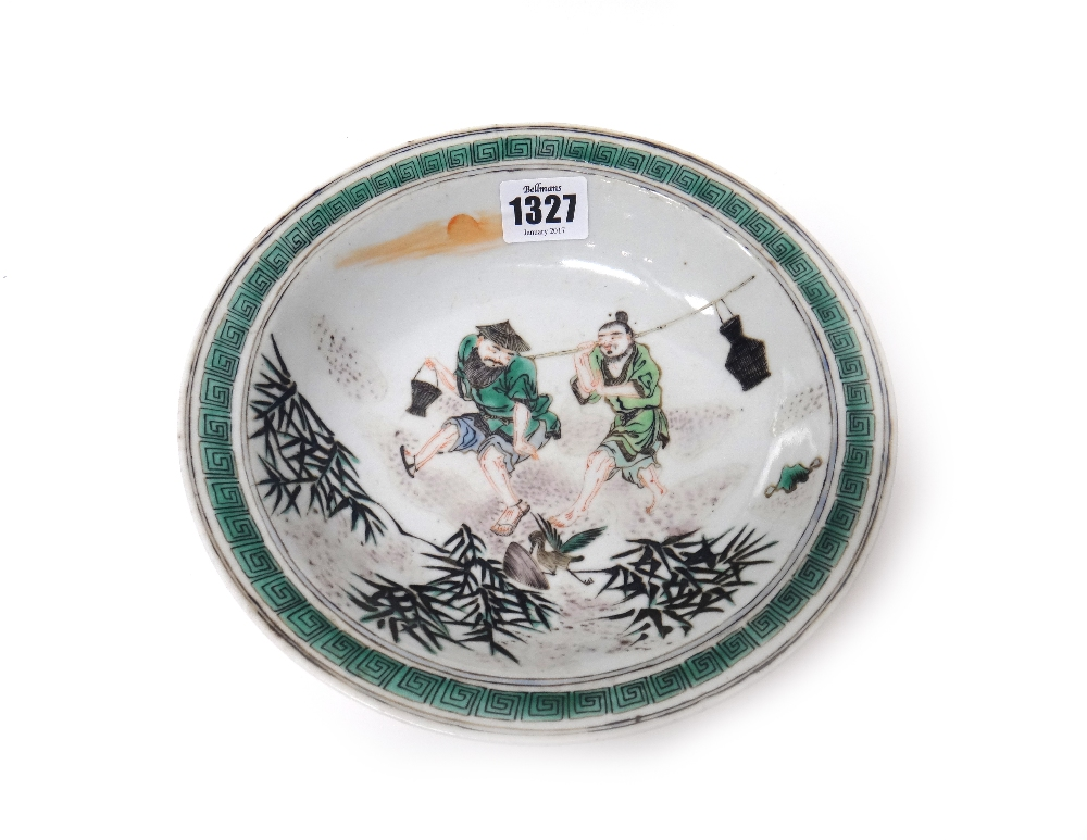 Lot 1327 - A Chinese famille-verte shallow bowl, 19th century,