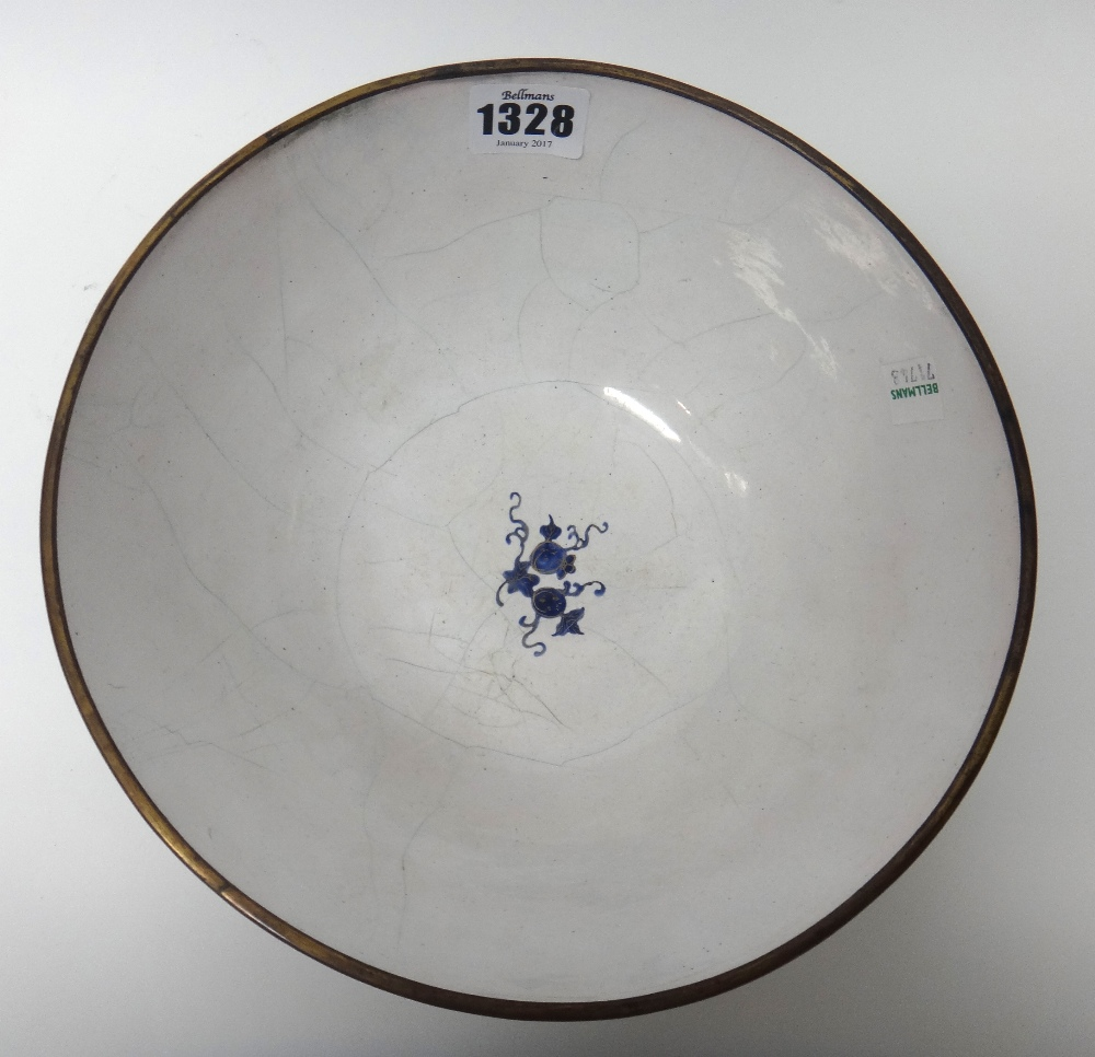 Lot 1328 - A Canton enamel bowl, 19th century, the exterior gilt with scattered insects,