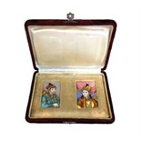 Lot 1383 - A pair of Indian miniatures of a prince and princess, gouache and ink, each 6cm. by 4cm.