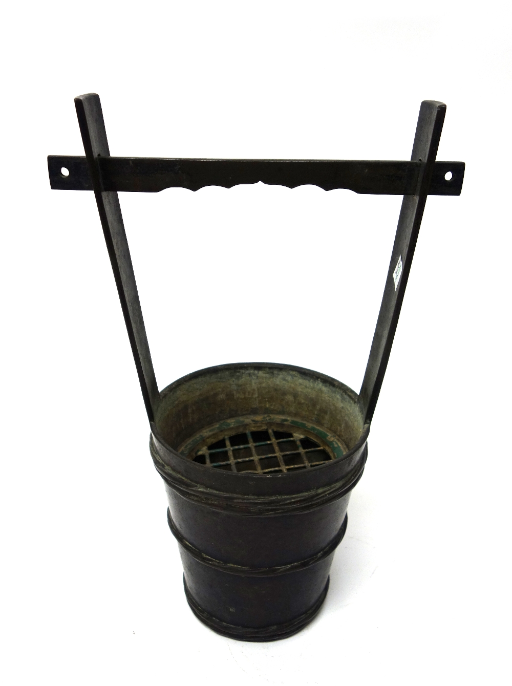 Lot 1425 - A Japanese bronze flower vase in the form of a well bucket, Meiji period, 36.5cm. high.