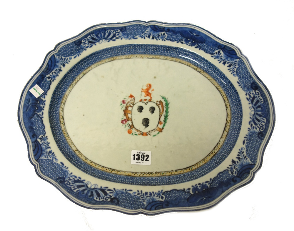Lot 1392 - A Chinese armorial shaped oval dish, Qianlong, painted with the arms of Canning,
