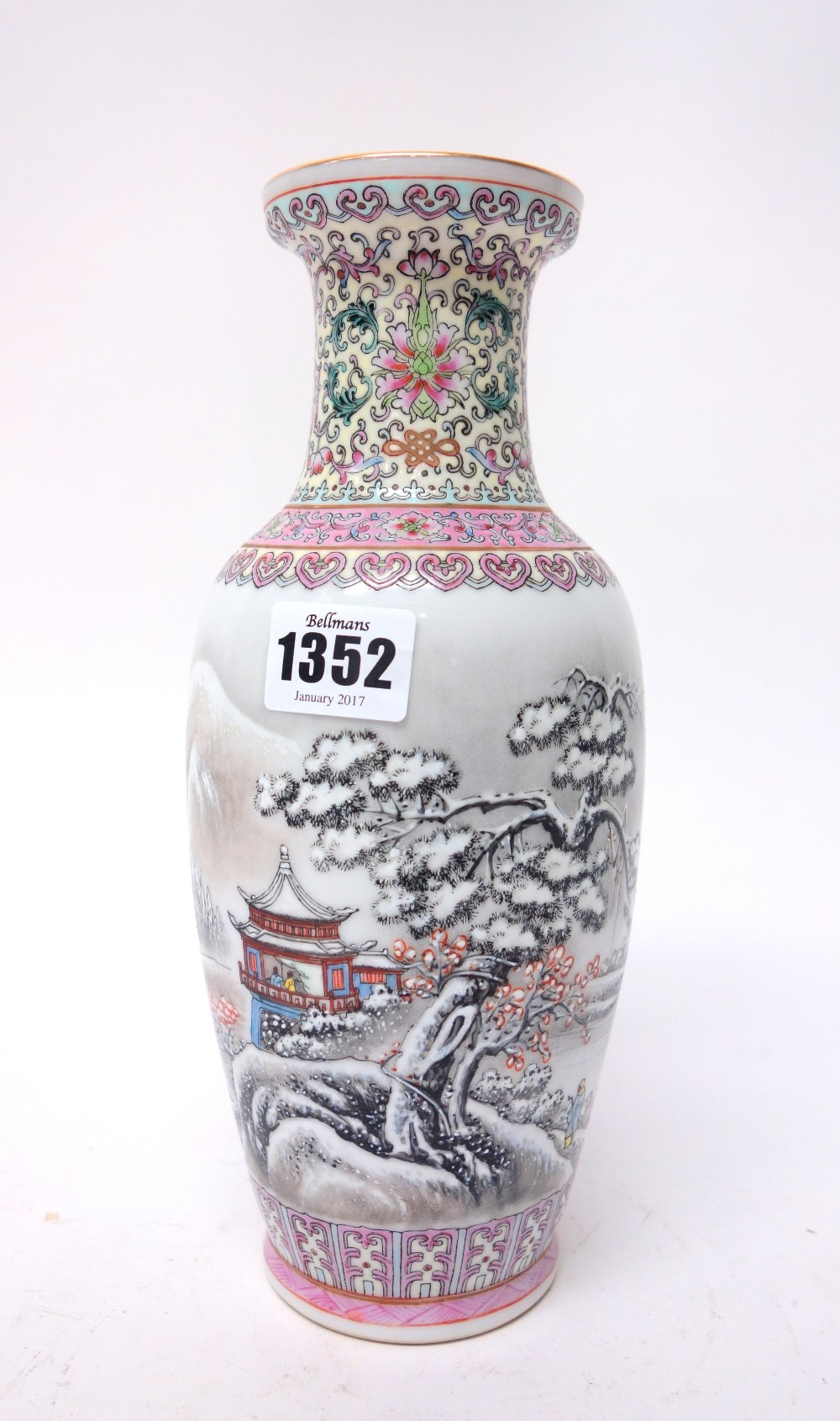 Lot 1352 - A Chinese porcelain snowscene vase, 20th century, of slender ovoid form,