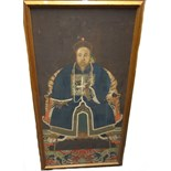 Lot 1374 - A Chinese ancestor portrait, 19th century, watercolour and gouache on paper laid on linen,