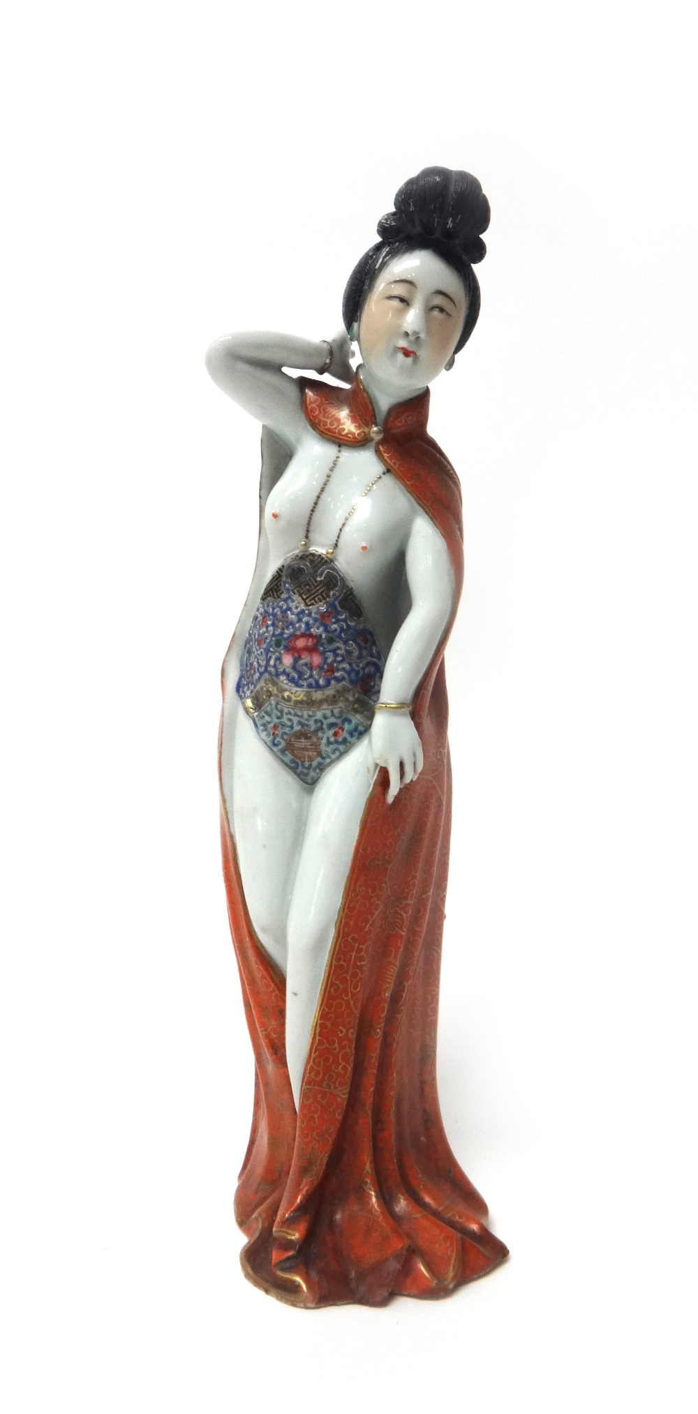 Lot 1330 - An unusual Chinese porcelain figure of a young woman, 20th century,