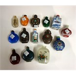 Lot 1400 - A group of fourteen Chinese snuff bottles, 19th/20th century, including; two inside painted bottles,