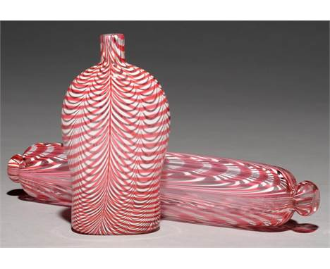 A VICTORIAN NAILSEA WHITE AND CANDY PINK TRAILED GLASS FLASK AND ROLLING PIN, MID 19TH C flask 18cm h Both undamaged