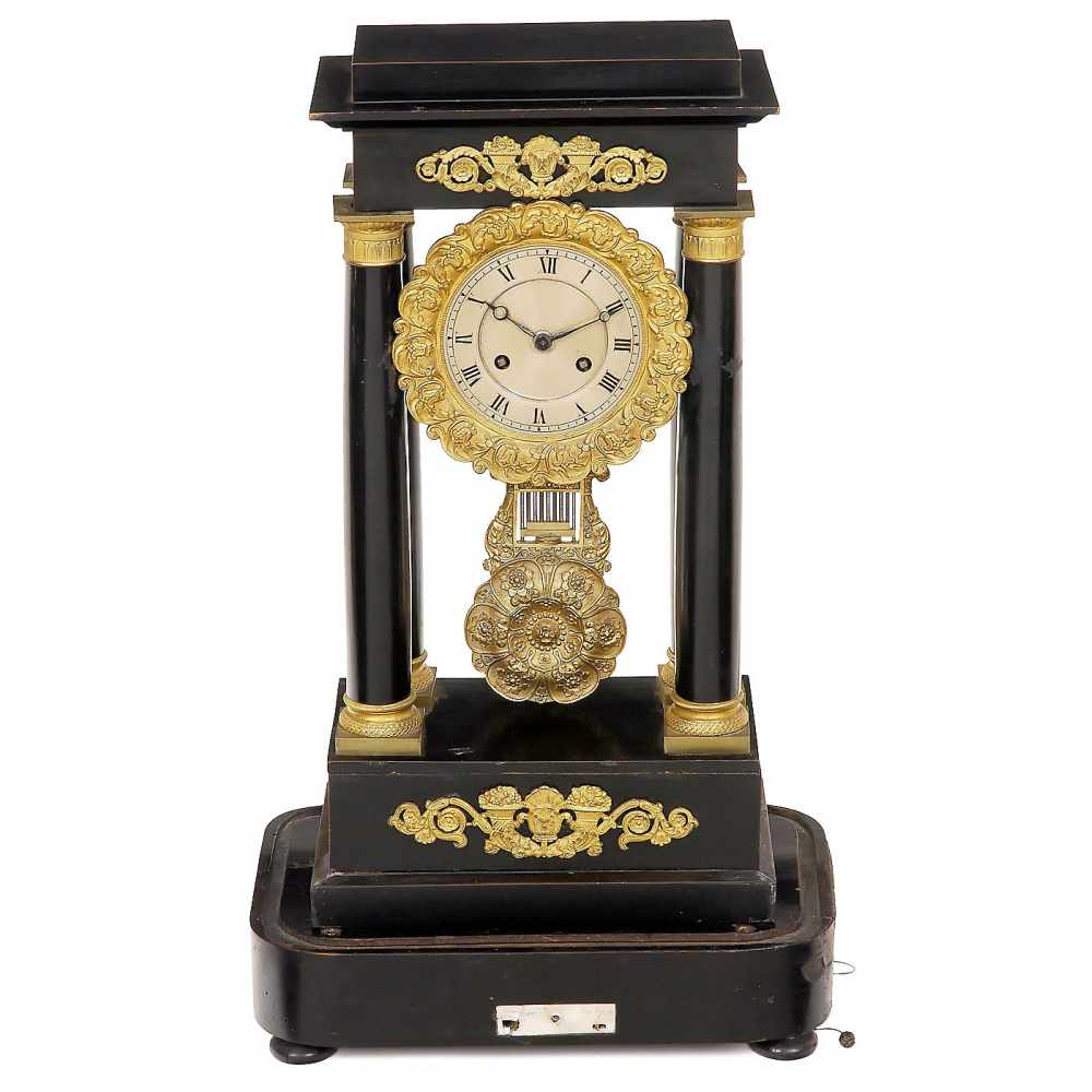Lot 3 - Musical Portico Clock by Blant, c. 1855Paris, with 4-inch silvered Roman dial, two-train movement
