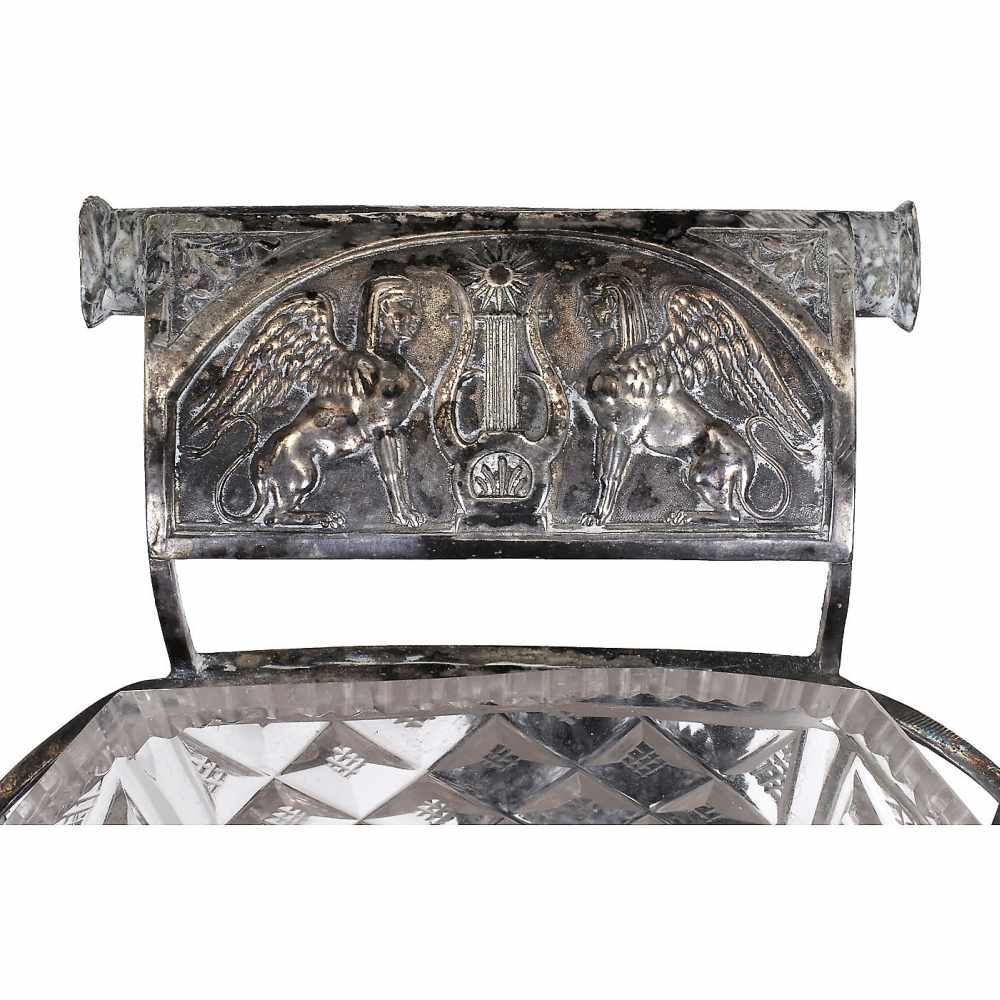 Lot 55 - Early Musical Silver Basket, c. 1820With two-air cylinder movement, chevron-shaped sectional comb in