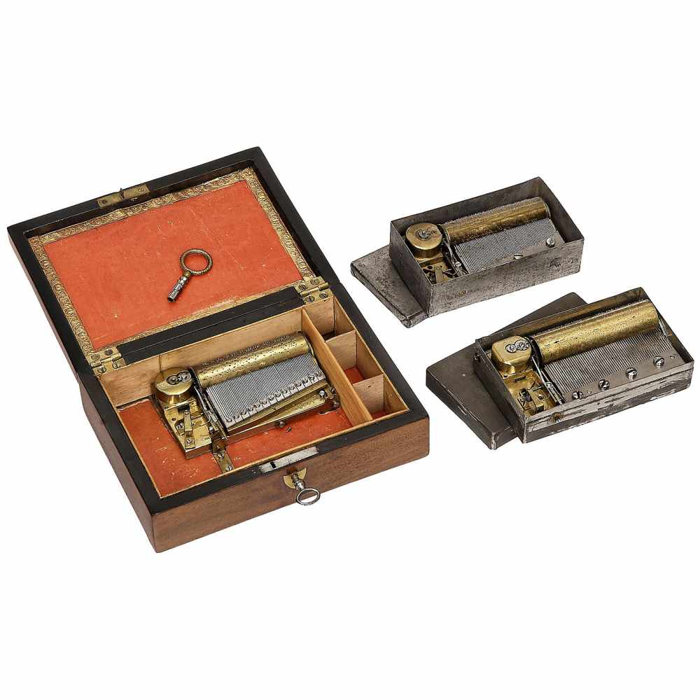 """Lot 23 - 3 Tabatière Musical Boxes1) Two-air movement with sectional comb, No. 13641, bedplate stamped """""""