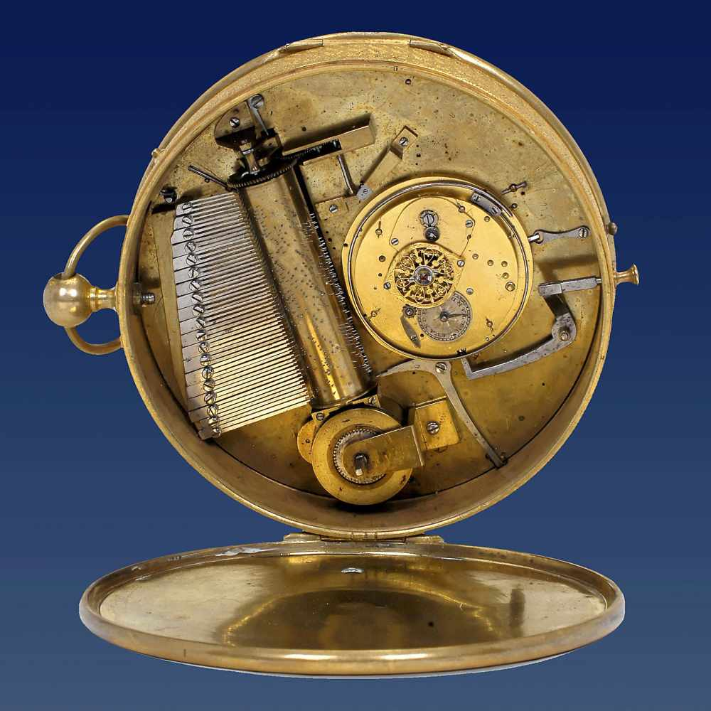 Lot 35 - Unusual Musical 'Carriage Watch', c. 1820With 4-inch (10 cm) enameled Roman dial with Arabic
