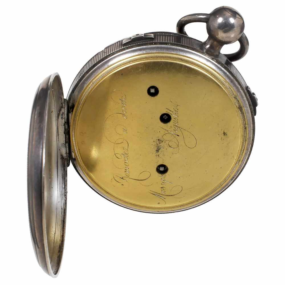 Lot 26 - Musical Silver Pocket WatchNo. 6298, date and origin unknown, with 2-inch (5 cm) silver dial with