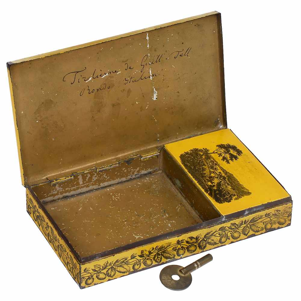"Lot 56 - Musical Tobacco Box Souvenir of ""Manheim"", c. 1840No. 22956, playing two airs (""Tirolienne de"