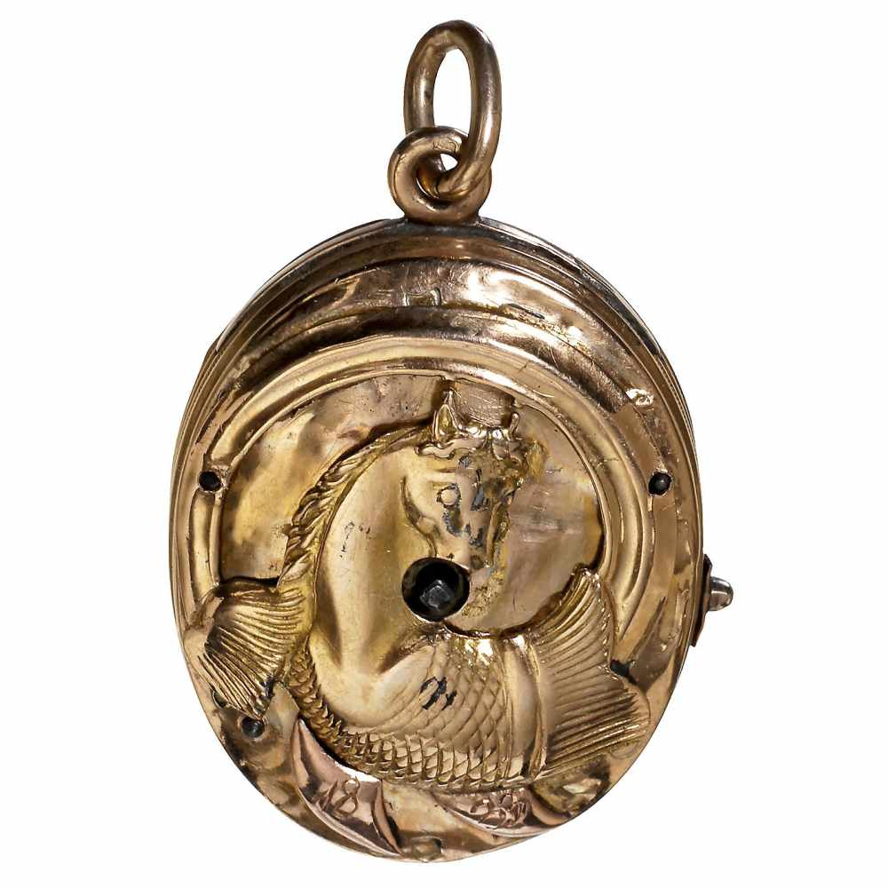 Lot 2 - Musical Gold Pendant, c. 1815Playing a single air, with barillet movement, stack of 10 hooked