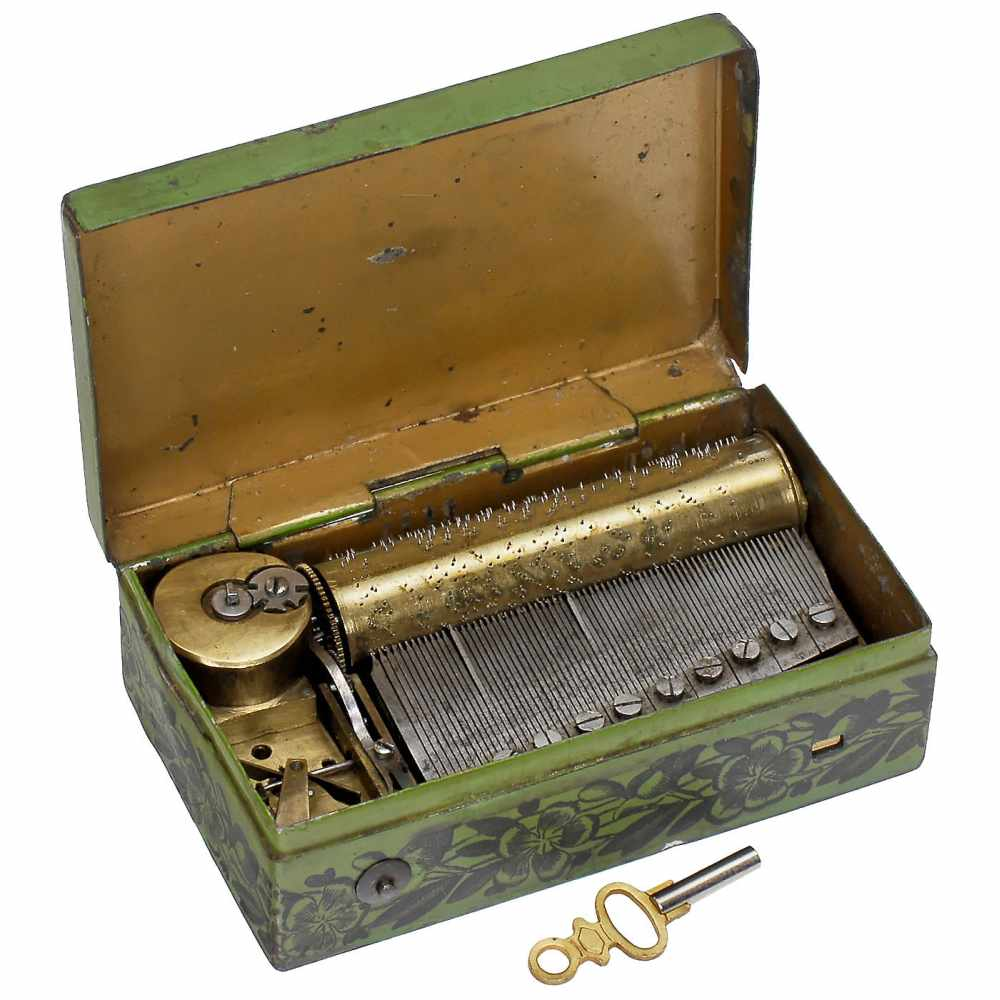 Lot 12 - Tinplate Souvenir Musical Box of Zürich, c. 1840No. 13801, playing two airs, with sectional comb
