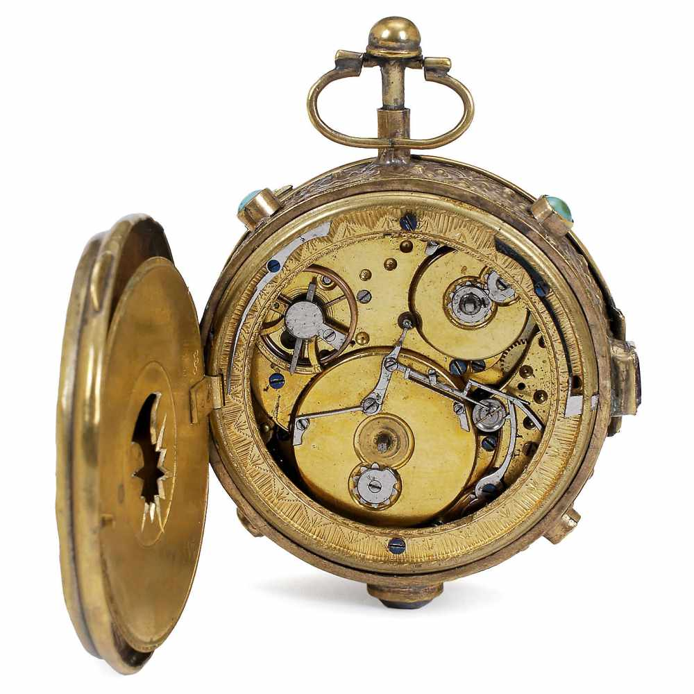 Lot 48 - Austrian Musical Pocket Watch, c. 1820No. 233, with 2-inch (5 cm) enameled annular Arabic dial