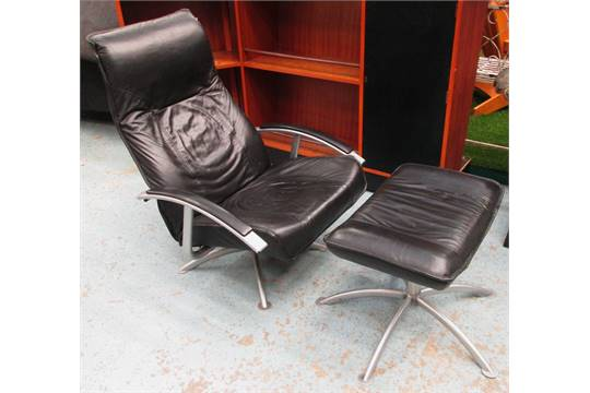 Superb Reclining Armchair And Footstool Black Leather By Kebe Theyellowbook Wood Chair Design Ideas Theyellowbookinfo