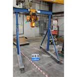 GLOBAL PORTABLE GANTRY CRANE, 7'H, 5' W W/ ACCOLIFT 233020 1 TON HOIST, ASST#10006129F