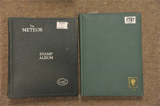 A Meteor stamp album and a stock book of stamps