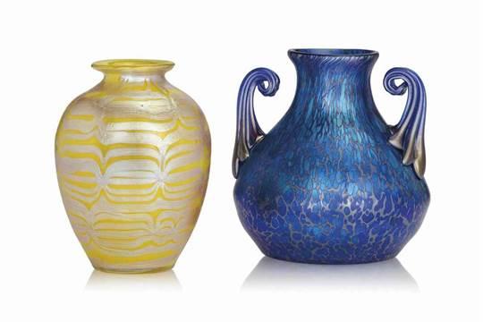 Two Loetz Iridescent Glass Vases Circa 1900 Yellow Vase Engraved