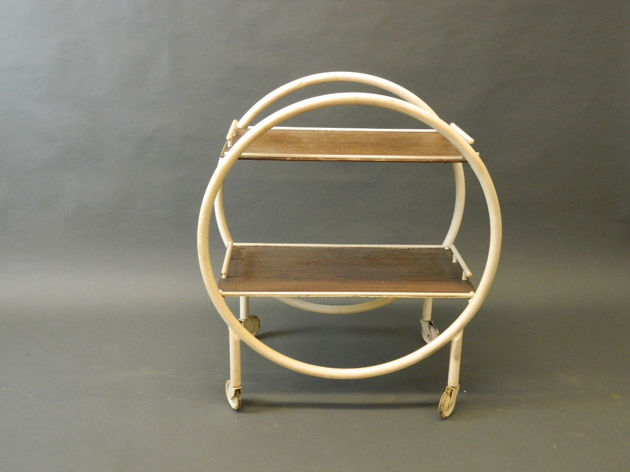 Lot 718 - An Art Deco painted steel tea trolley, 3