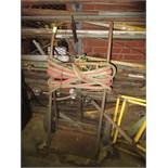 Torch Outfit, includes: torch, regulator, hose & cart. HIT# 2179345. basement weld shop. Asset