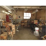 Lot Balance of Contents around Machine Shop Walls, includes: cabinets, benches & contents, misc.