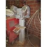 Double End Grinder/Polisher, includes pedestal, 115 VAC. HIT# 2179336. basement weld shop. Asset