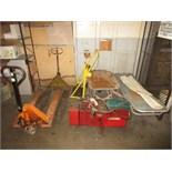 Lot (6pcs) Assorted Shop Equipment, includes: (2) pallet jacks, (1) bottle cart, (1) lube unit, (1)