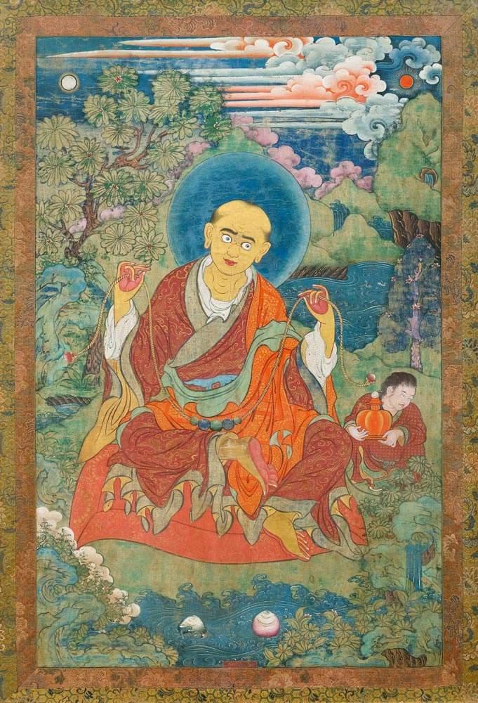 A THANKA OF ARHAT KANAKAVATSA. Tibet, 18th c. 92x60 cm. Framed under ...