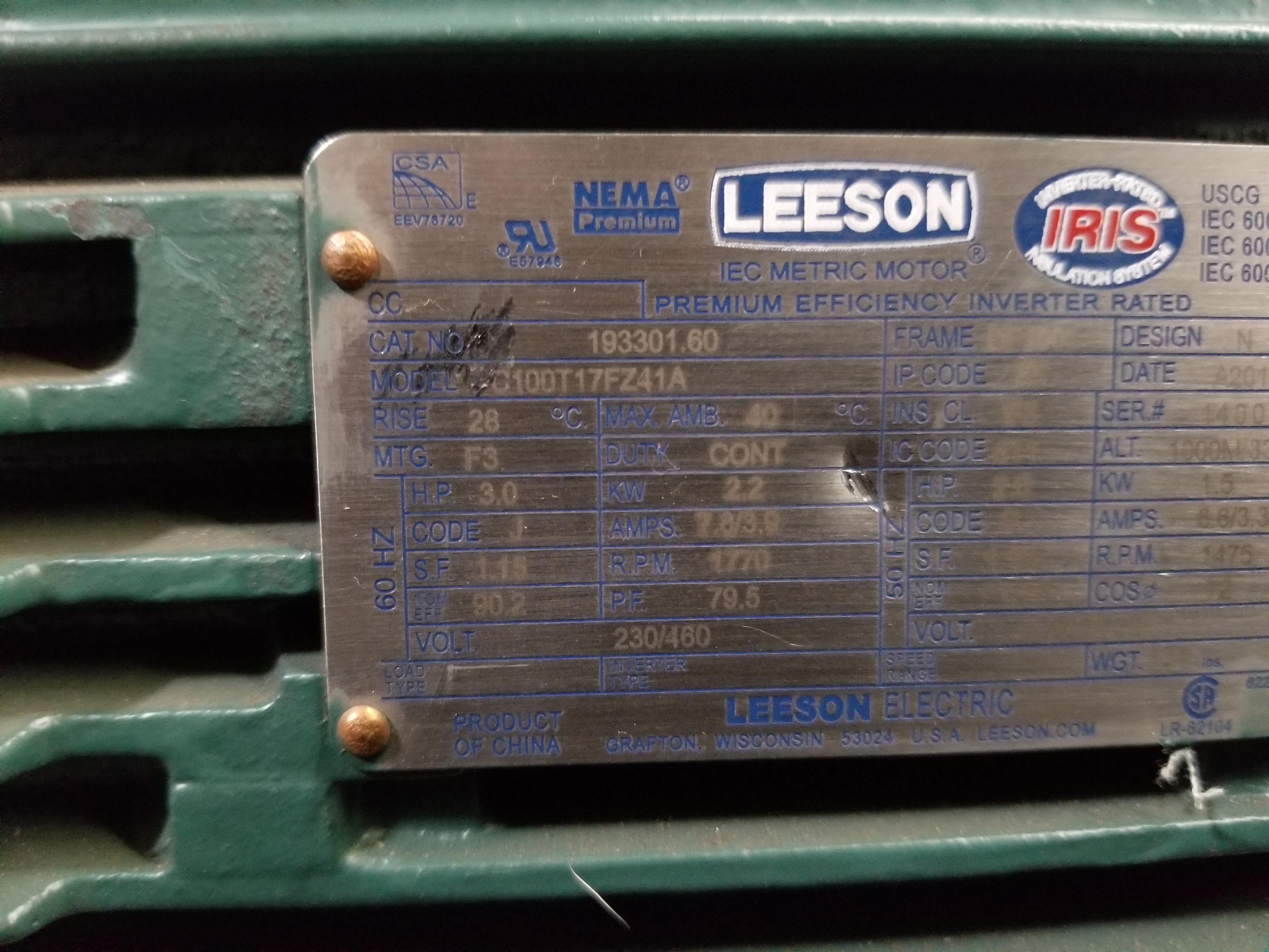 Lot 35 - UNUSED LEESON INDUSTRIAL 3HP MOTOR