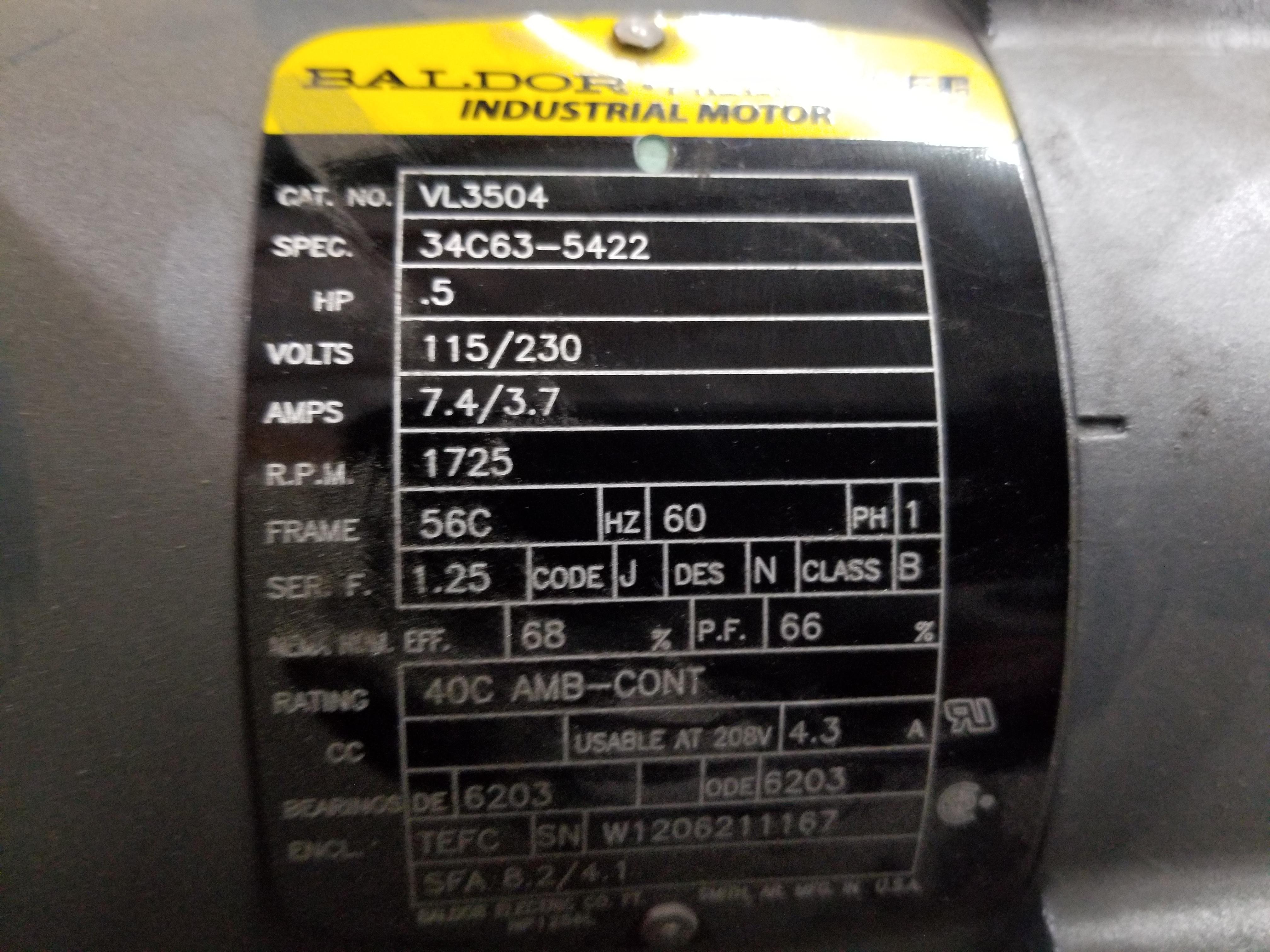 Lot 20 - BALDOR RELIANCE INDUSTRIAL MOTOR