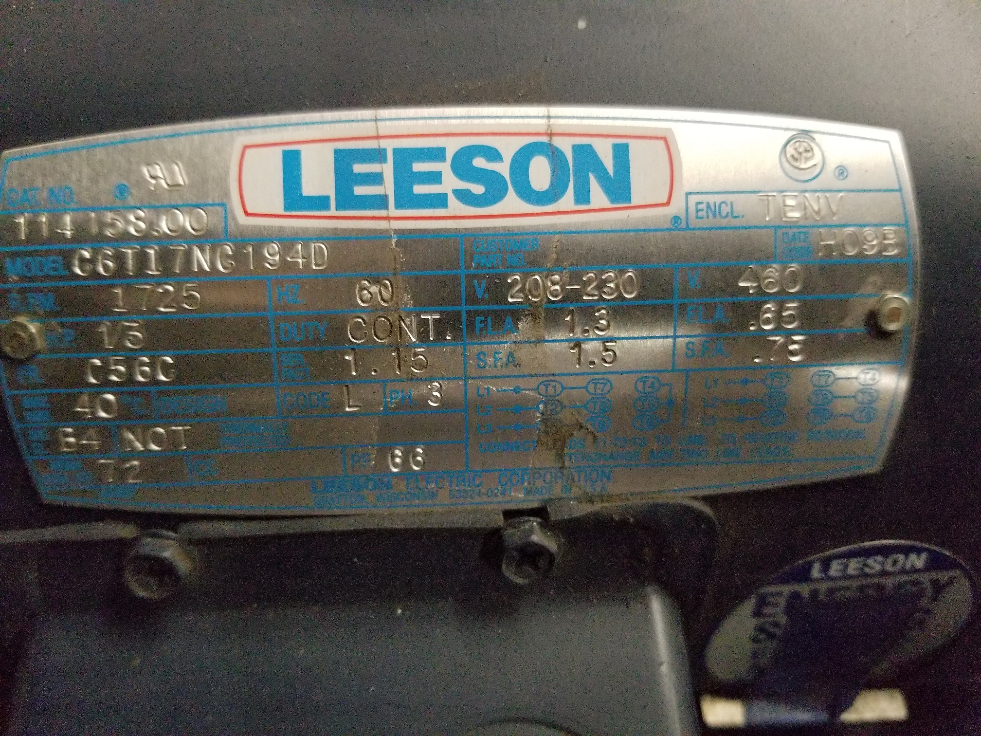 Lot 32 - LEESON INDUSTRIAL MOTOR