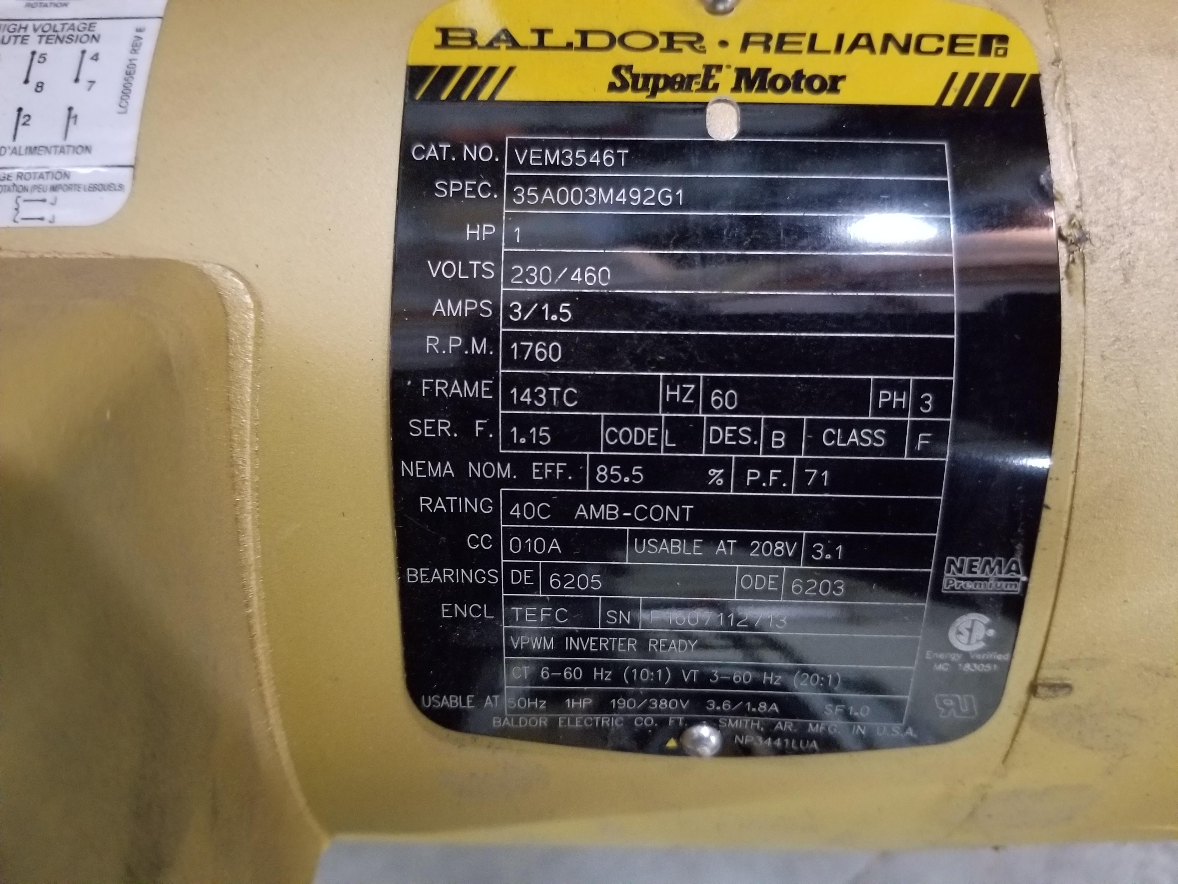Lot 19 - BALDOR RELIANCE INDUSTRIAL MOTOR