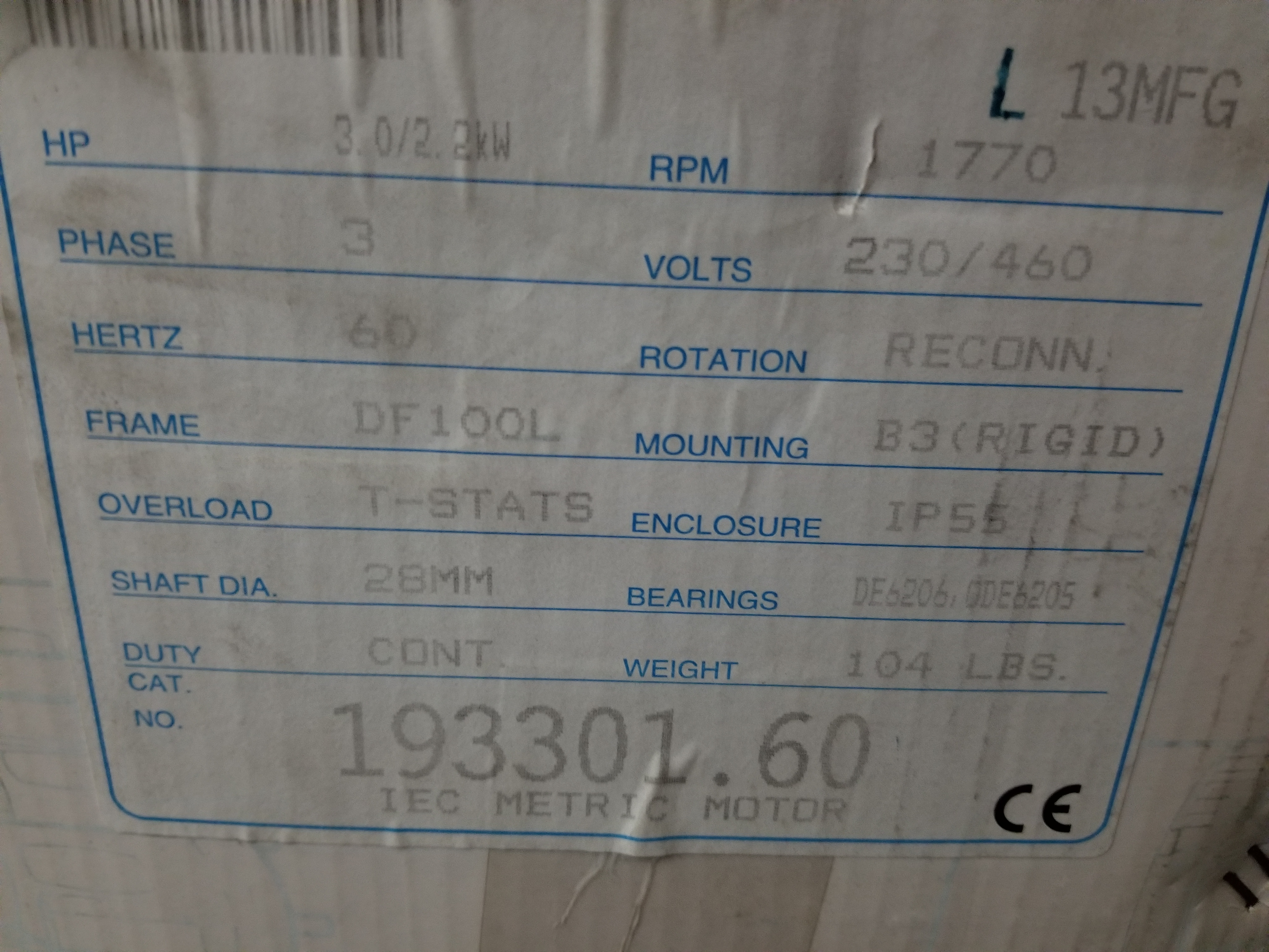 Lot 17 - NEW LEESON INDUSTRIAL AC MOTOR