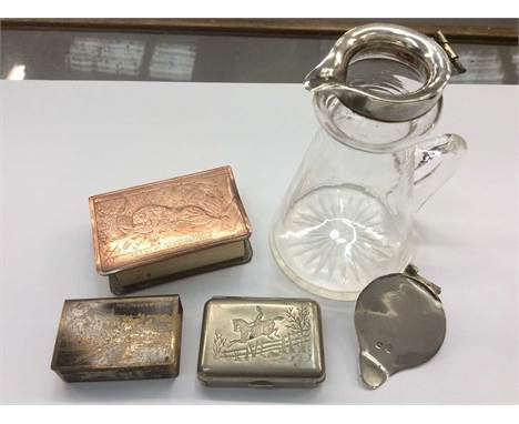 Unusual 19th century Swiss engraved copper vesta case, two other vesta cases and silver lidded glass whiskey noggin