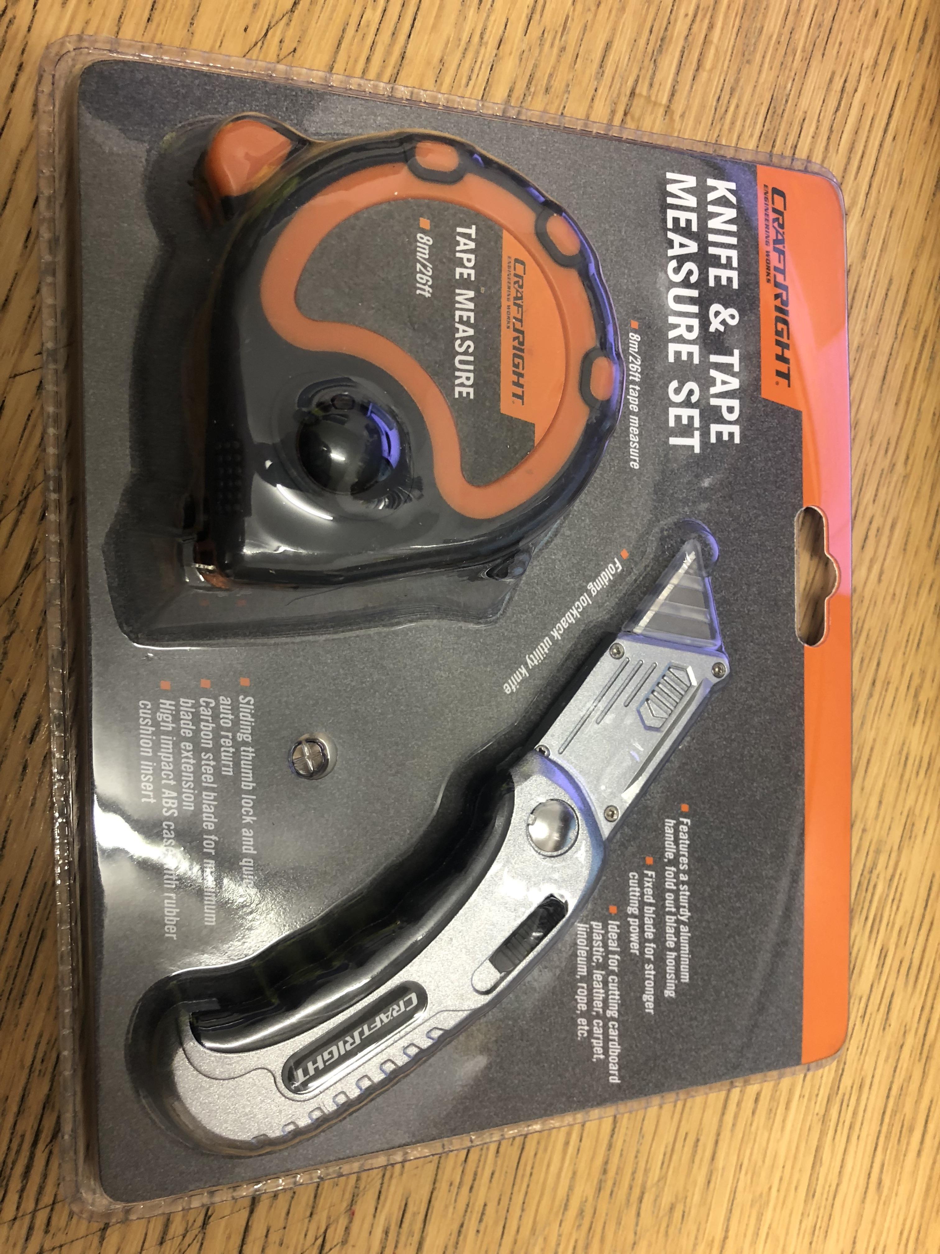 Lot 10217 - V Brand New Two Piece Knife And Tape Measure Set Inc 8m Tape Measure & Folding Lockback Utility